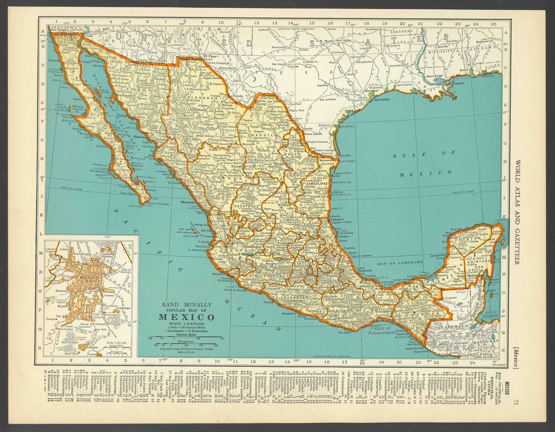 Vintage Mappa Del Messico